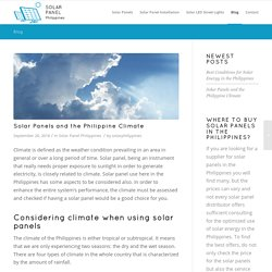 Solar Panels and the Philippine Climate
