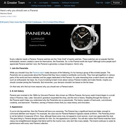 Here's why you should own a Panerai