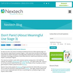 Don't Panic! (About Meaningful Use Stage 3)