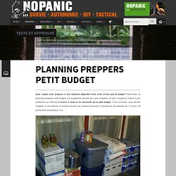 Planning preppers petit budget