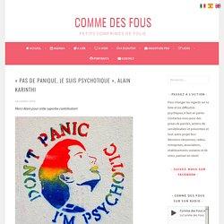 """""""Pas de panique, je suis psychotique"""", Alain Karinthi - Comme des Fous"""
