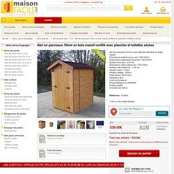 Abri en panneaux 16mm en bois massif certifié avec plancher et toilettes sèches