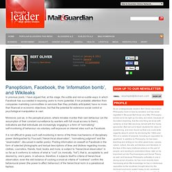 Bert Olivier Panopticism, Facebook, the 'information bomb', and Wikileaks