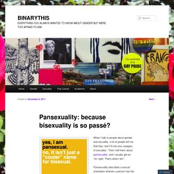 Pansexuality: because bisexuality is so passé?