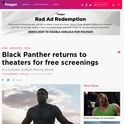 Black Panther returns to theaters for free screenings
