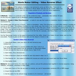 Movie Maker Editing - Reverse