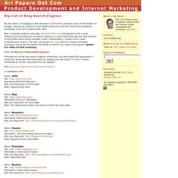 Ari Paparo Dot Com: Big List of Blog Search Engines