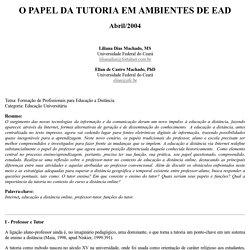 O PAPEL DA TUTORIA EM AMBIENTES DE EAD