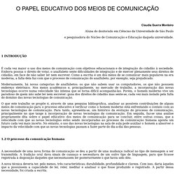 O PAPEL EDUCATIVO DOS MEIOS DE COMUNICAÇÃO