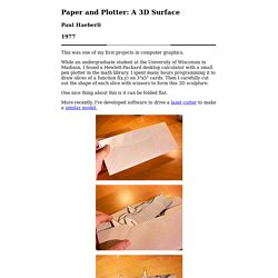 Paper and Plotter: A 3D Surface