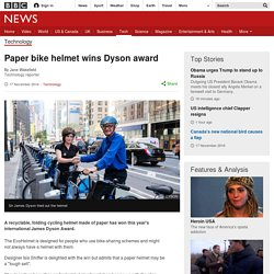 Paper bike helmet wins Dyson award
