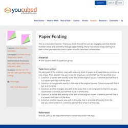 Paper Folding - Number Sense, Shape and Space