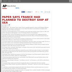 Paper Says France Had Planned To Destroy Ship At Sea