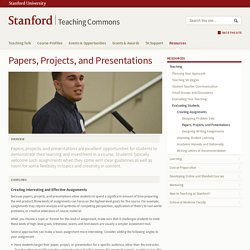 Papers, Projects, and Presentations