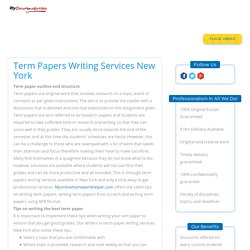 Term Papers Writing Services New York