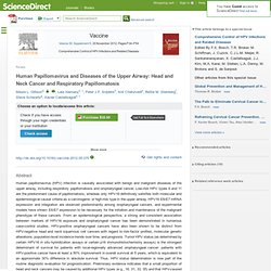 Vaccine - Human Papillomavirus and Diseases of the Upper Airway: Head and Neck Cancer and Respiratory Papillomatosis