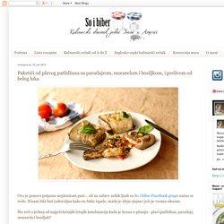 So i Biber: Paketići od plavog patlidžana sa paradajzom, mocarelom i bosiljkom, i prelivom od belog luka