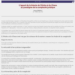 S. Diebolt - L'apport de la théorie de l'ordre et du chaos au paradigme de la complexité juridique