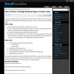 Nerd Paradise : How to Write a 20 Page Research Paper in Under a Day