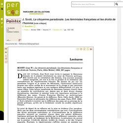 J. Scott, La citoyenne paradoxale. Les féministes françaises et les droits de l'homme