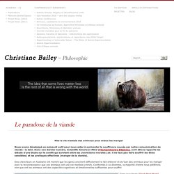 Le paradoxe de la viande – Christiane Bailey