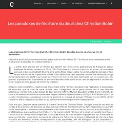 Les paradoxes de l'écriture du deuil chez Christian Bobin – Le crachoir de Flaubert