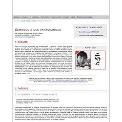Julia Kristeva : Sémiologie des paragrammes