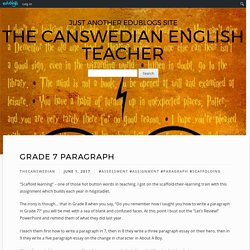 Grade 7 Paragraph – The Canswedian English Teacher