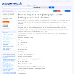How to begin a new paragraph. Useful linking words and phrases. « Essay writing help and study advice