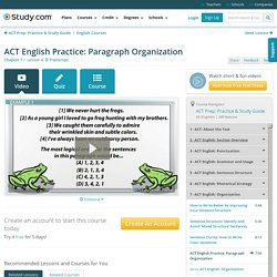 ACT English Practice: Paragraph Organization