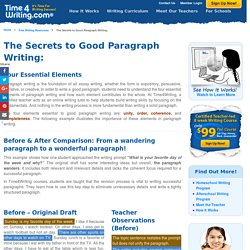 Paragraph Writing, How to Write a Paragraph Using Four Essential Elements - Time4Writing.com