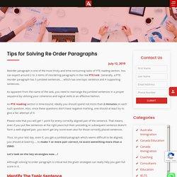 Reorder Paragraphs PTE Tips for Aspirants, Re-Arrange the Sentences
