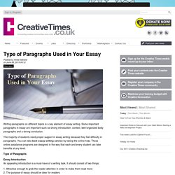 Type of Paragraphs Used in Your Essay