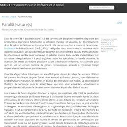 Paralittérature(s)