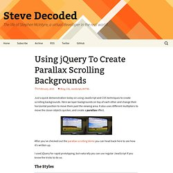 Using jQuery To Create Parallax Scrolling Backgrounds « Stephen McIntyre