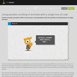Using parallax scrolling in Animate with a single line of code