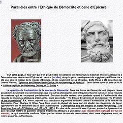 Parallèles entre l'Ethique de Démocrite et celle d'Epicure