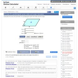 Area of a parallelogram given sides and angle Calculator - High accuracy calculation