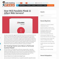 How Will Parallels Plesk 12 Affect Web Servers?