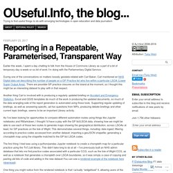 Reporting in a Repeatable, Parameterised, Transparent Way
