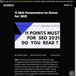 11 SEO Parameters to Know for 2021 - Navines