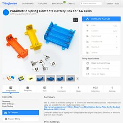 Parametric Spring Contacts Battery Box for AA Cells by ffleurey