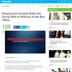 Paranormal Activity Rides the Social Web to Millions at the Box Office