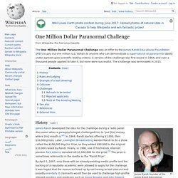 One Million Dollar Paranormal Challenge - Wikipedia