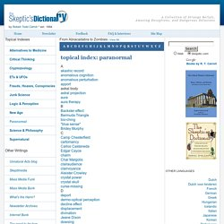 paranormal - topical index