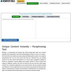 Free Paraphrasing Tool Online