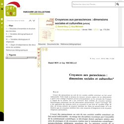 Croyances aux parasciences : dimensions sociales et culturelles