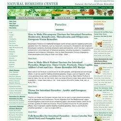 parasites, Natural Remedies Center