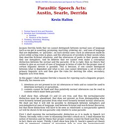 Parasitic Speech Acts: Austin, Searle, Derrida - Kevin Halion