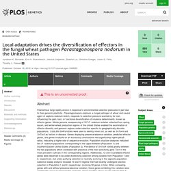 Local adaptation drives the diversification of effectors in the fungal wheat pathogen Parastagonospora nodorum in the United States